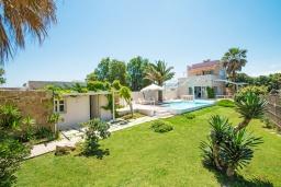 Территория. Греция, Ретимно : Шикарная пляжная вилла с бассейном и зеленой территорией, 4 спальни, 3 ванные комнаты, барбекю, патио, парковка, Wi-Fi