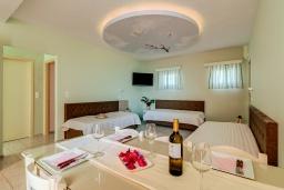 Гостиная. Греция, Скалета : Семейный апартамент в 20 метрах от пляжа, с гостиной, двумя спальнями, двумя ванными комнатами и большим балконом с шикарным видом на море