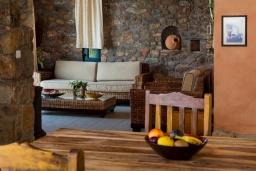 Гостиная. Греция, Элафониси : Комфортабельная каменная вилла с панорамным видом на море, с 2 спальнями, с бассейном, тенистой террасой, барбекю, расположена в 300 метрах от пляжа