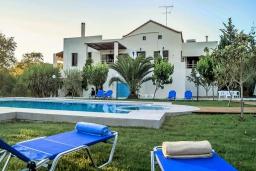 Фасад дома. Греция, Скалета : Уютная вилла с 5 спальнями, бассейном, зелёным двориком с беседкой с патио и каменным барбекю, расположена в деревне Prinos