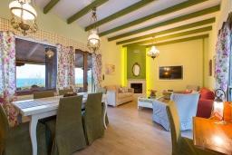 Гостиная. Греция, Ретимно : Роскошная вилла с панорамным видом на море, с 7 спальнями, с большим зелёным садом, с бассейном, беседкой и барбекю, расположена в 20 метрах от пляжа в районе Petres