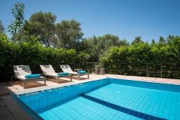 Бассейн. Греция, Малеме : Современная вилла с 3 спальнями, с бассейном, зелёным двориком, тенистой террасой с патио и барбекю, расположена в Maleme всего в 300 метрах от пляжа